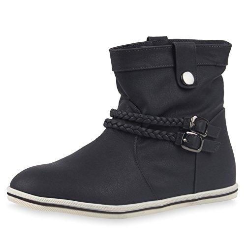 Sportliche Damen Stiefeletten Stiefel Flache Boots High & Low Top Damen STIEFELETTEN DUNKELBLAU LOW (Qualität Top Kostüme)