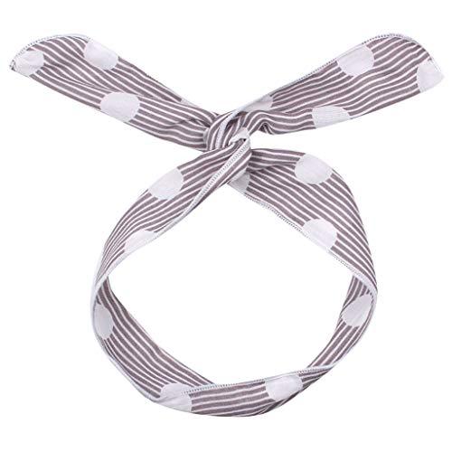 Mymyguoe Damen Stirnband, Bogen Headwrap Elastisches Kaninchen Ohr Hairband für Damen Süss Gedruckt Stirnbänder Fadenkreuz Bandbreite gerader Streifen (Freie Größe, C) -
