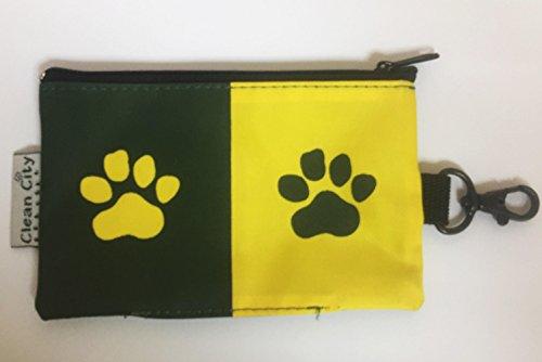 Estuche para Bolsas de excrementos de perro con clip para correa – Accesorios animales, Estuches con cremallera y separador higienico perros – De Diseño, Color verde y amarillo, Modelo Huellas