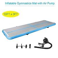 Homgrace Inflatable Gymnastics Mat With 700W Air Pump Air Tumbling Pad Yoga Mat Air Tumble Track (Blue with 500W Air Pump)