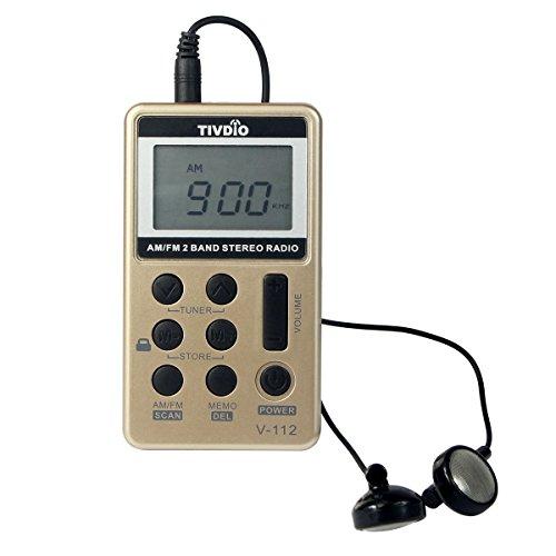 Tivdio Portatile FM / AM 2 Banda Mini Radio Tascabile Con Batteria Ricaricabile e Auricolare