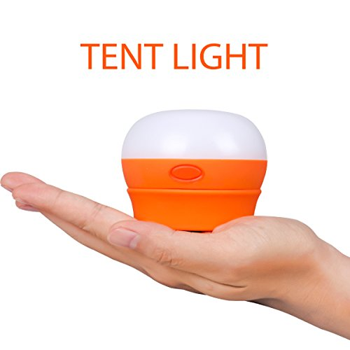 TEQIN LED Camping Lamp Lantern Outdoor Hiking Light Portable Tent Night Lamp with Handle(Orange)