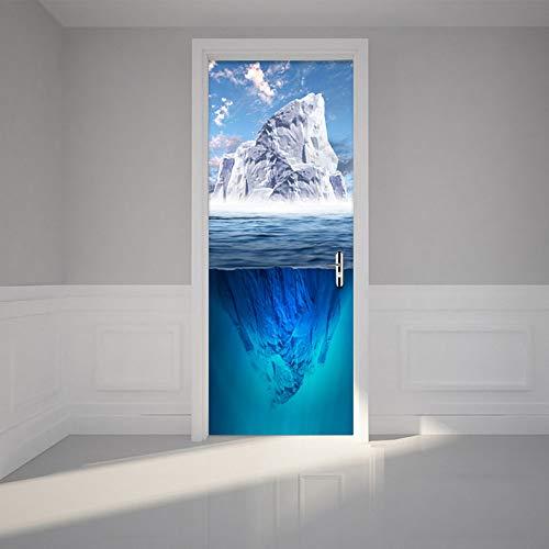 Bdpq_Modern Creative Blue Iceberg Etiqueta Puerta