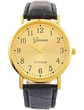 Souarts Herren Armbanduhr Deko Uhr mit Batterie Charm Geschenk Schwarz