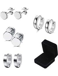 4f720aff2 Mannli 4 Pairs Stainless Steel Stud Earrings for Men Women Hoop Earrings  Huggie Piercing, 4