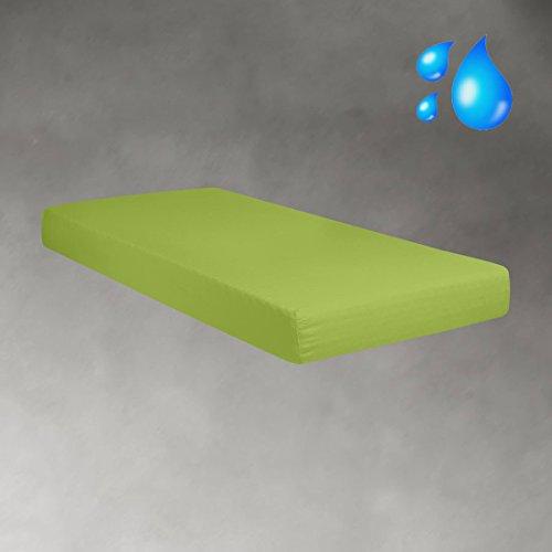 G BETTWARENSHOP Jersey Spannbetttuch Wasserdicht 2in1 • Bettlaken Und Matratzenschutz In Einem 140x200-160x200 cm Apfel