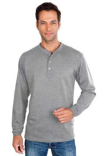 QUALITYSHIRTS Langarm Serafino Shirt mit Knopfleiste Gr. S - 6XL Baumwolle Silber