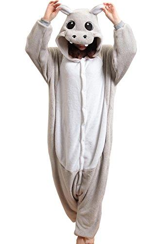 HONFONF Grau Unisex Erwachsene Jumpsuit Onesies Anime Halloween Weihnachten Karneval Cosplay Kigurumi Outfit Kostüm Stück Anzüge (Molkerei Mädchen Kostüm)