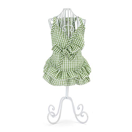 DUANQY Kleines Hundemädchen Kleid Pet Puppy Plaid Weste Shirt Tutu Rock,Green,XS