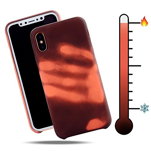 """iPhone X Thermal Sensor Case, VMAE Color Changing Heat-Sensing Case Magical Stylish Color Fluorescent Heat Induction Matte Surface Back Soft TPU Cover for iPhone X 5.8"""" - Modena Change to Purple Black change to Red"""