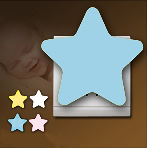 Nachtlicht für Kinder Baby Nachtleuchte Steckdose LED Nachtlampe mit Automatischer Dimmen Sanftes Licht Nachtlicht Schlummerleuchte Stimmungslicht Sterne Form Multi Farbe Lampe für Jungen Mädchen