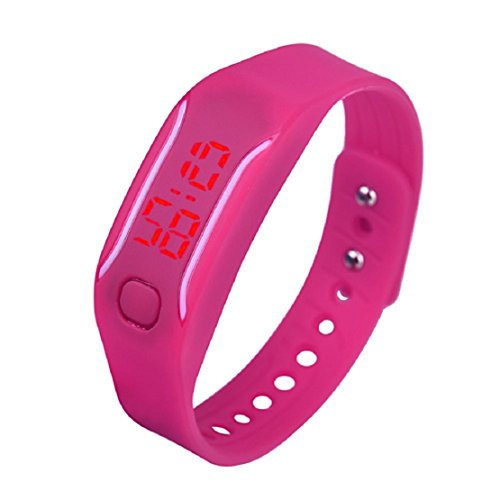 OverDose Damen Herren Gummi LED Uhr Datum Sports Armband Digital Armbanduhr (Hot pink)