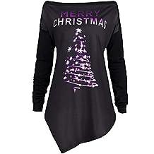 Camisa de Las Mujeres Hombro Navidad, Cremallera Puntos impresión Tops Sudadera con Capucha