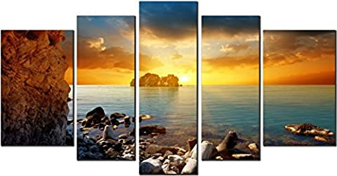OBELLA New Wall Art Canvas Prints 5 Pieces ++Sunset on Great Lake++ Framed With Inner Frames, Ready to Hang - 5 Panel Canvas Wall Art Multipart Canvas - Wall Art Picture, Canvas Picture, Decorative Picture Modern Contemporary Posters Oil Paintings Prints and Pictures Photo Image Wall Art Prints on Canvas for Home Bedroom Living Room Office Wall Decor Christmas Gifts Decoration