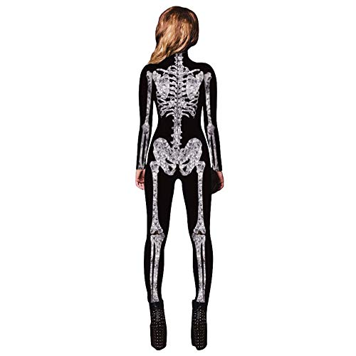(GYH Damen Skelett Drucken Halloween Kostüme Bodycon Jumpsuit Bodysuit Halloween Party Sammlung,XL)