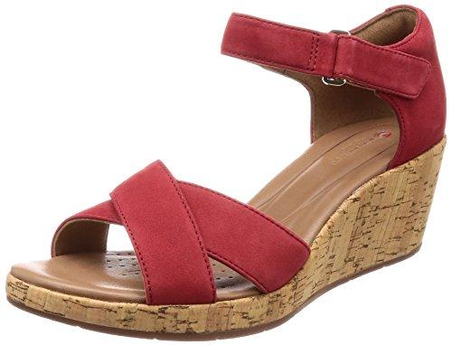 Clarks Damen Un Plaza Cross Riemchensandalen, Rot (Red Nubuck), 39 EU Red Nubuck Schuhe