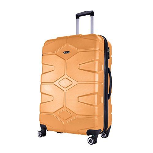 SHAIK® SERIE RAZZER SH002 3-tlg. DESIGN PMI Hartschalen Kofferset, Trolley, Koffer, Reisekoffer, 50/80/120 Liter, 4 Doppelrollen, 25% mehr Volumen durch Dehnfalte (Gelb, L - Mittelgroßer Koffer)