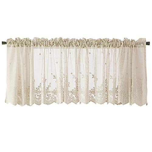 Ruiboury Lace Ruffle Cafe Kitchen Window Drape Valance semi trasparente Voile tende Trattamento Finestra