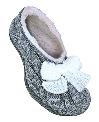 Jennifer anderton donna eleganti, morbide e peluche antiscivolo pantofole con suola in gomma in 3 colori (37-39 eur, grey)