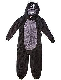 Garçons Gorille de Luxe Fermeture Éclair Polaire Pyjama Combinaison à Capuche Barboteuse Tailles de 7 à 13 Ans
