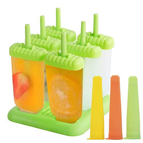 EXTSUD Eisformen Stieleisformer 6 Stück Eis am Stiel und 3 Stück Eislutscher Formen aus Silikon BPA Frei, Eisformen für Kinder und Erwachsene