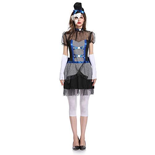 Frauen Halloween Kostüm Sexy Ghost Bride Bridesmaid Rollenspiel Kostüm (beinhaltet Kleidung + Handschuhe + Maske + Hut),Black,M (Bride Ghost Halloween Kostüm)