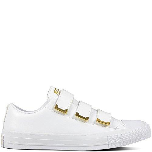 Converse Damen Chuck Taylor CTAS 3v Ox Synthetic Fitnessschuhe, Weiß White/Gold 102, 39 EU Chuck Taylor All Star 3 Strap