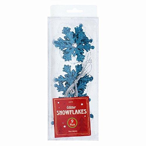 9pezzi di Natale Glitter Hanging snowflake- Albero [con rosso, oro, argento, rosa, blu, viola Blue