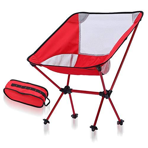Tavolo da campeggio pieghevole portable beach camping compact backpacking sedia pieghevole portatile con borsa per pesca escursionismo picnic garden, super comfort (colore : red+white net)