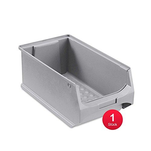 ab-in-die-BOX Sichtlagerbox, stabile Stapelbox aus Kunststoff, Lagerbox, ideal für Kleinteile (4.0-350x200x150, Grau)