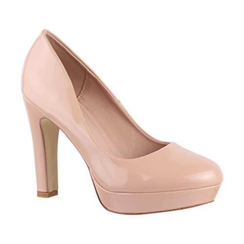 Elara Damen Plateau Pumps | High Heels Lackoptik | Vintage Schuhe | Chunkyrayan 7263-GL Nude-39