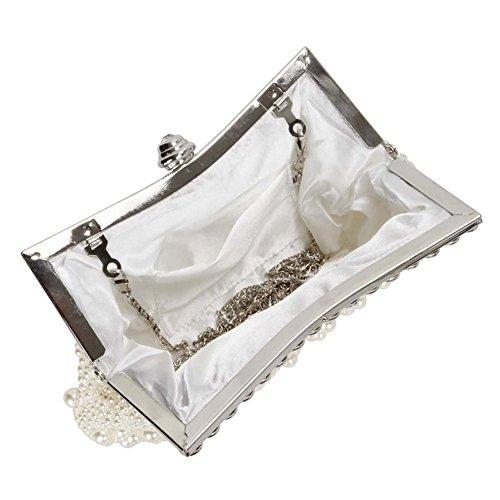 B-JOY Borsa da sposa fatto a mano elegante frizione Borsa da sera del partito del sacchetto del underarm Beige