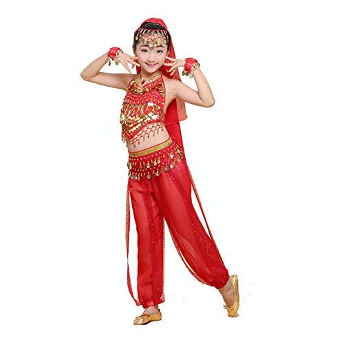 Angoter Mädchen Bauchtanz-Kostüm-Sets Für Kinder Indischen Tanz-Kleid-Kind Bollywood Mädchen Performance-Tanz-Größe M