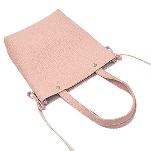 Hunpta Damen Leder Litchi Muster Handtasche Crossbody Schultertaschen Rosa