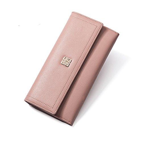 Portafoglio di Cuoio Genuino delle Donne, Supporto delle Borse dei Soldi della Frizione Lunga delle Donne delle Raccoglitore della Borsa Dell'inarcamento delle Signore (Rosa) Rosa