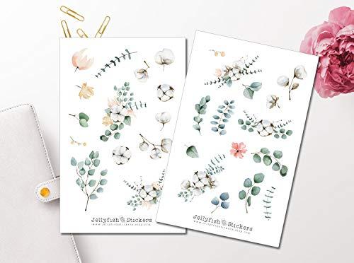 Eukalyptus und Baumwolle Sticker Set | Florale Aufkleber | Journal Sticker | Blumen Sticker | Planersticker - Set Eukalyptus