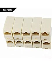FEDUS RJ45 8P8C Female to Female Network LAN Cable Coupler Adapter Connector (Off-White) Pack of 10