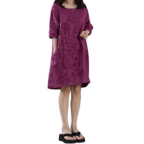 TEBAISE Damen Vintage Langarm Beiläufige Lose Leinen Kleid Große Größe Leinenkleid Damen Langarm Herbst Blumen Knielang Tunika Baumwolle