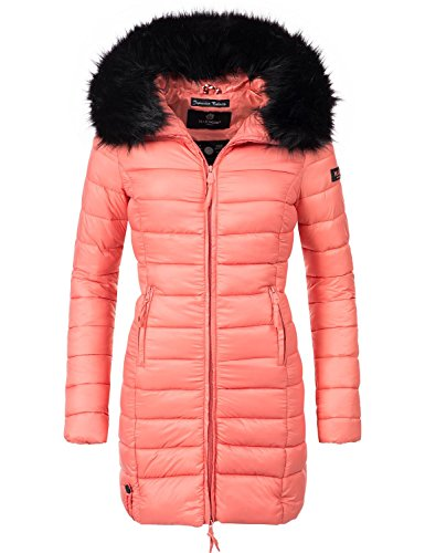 Marikoo Damen Winter-Mantel Steppmantel Rose (vegan hergestellt) Coral Gr. L (Mantel Winter Orange)