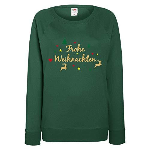 Shirt-Panda Damen Sweatshirt Frohe Weihnachten Rentier Dunkelgrün M