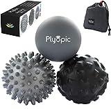 Plyopic Bolas de Masaje - (Set de 3 Massage Balls) - para Automasaje, Liberación Miofascial, Trigger Point, Crossfit y Fascitis Plantar. Elimina Dolores Musculares: Espalda Cuello Piernas Pies etc.
