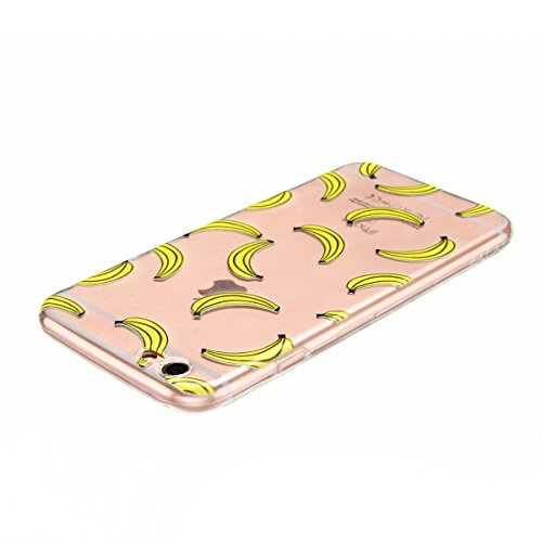 Cover iPhone 6 plus Custodia iPhone 6s plus Silicone Anfire Morbido Flessibile TPU Gel Case Cover per Apple iPhone 6 plus/6s plus (5.5 Pollici) Ultra Sottile Clear Trasparente 3D Copertura Antiurto Bu Banana