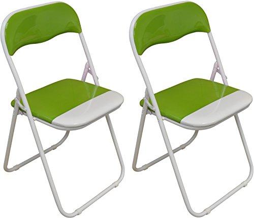 Packung mit 2 x Grün und Weiß Padded Klappstuhl - groß für, Büro, Schreibtisch, Poker, Ersatz-/ Zusatzsitz