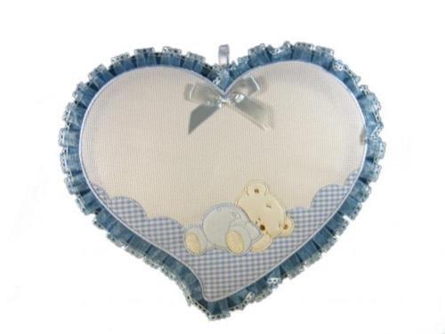 Fiocco nascita cuore con orsetto inserto in aida da ricamare a punto croceda ricamare il nome del bebe' azzurro lavorato del tutto a mano