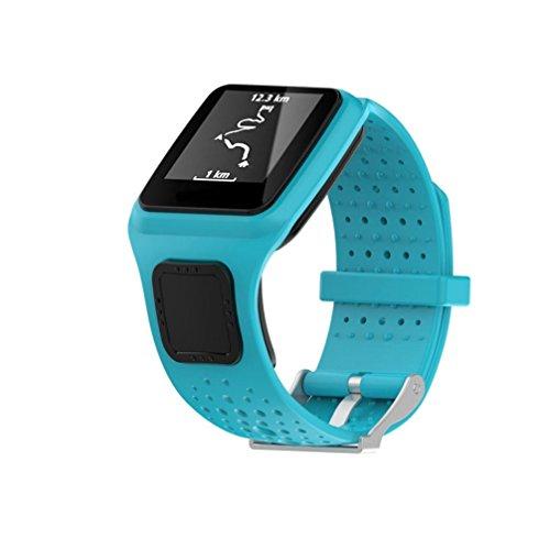 Ansenesna Sportuhr Armband Einstellen Ersatz Silicagel Uhrenarmband für Tom Multi Sport / Cardio GPS Watch (Blau)