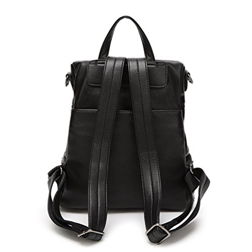 NiSeng Damen Rucksack Mode Persönlichkeit Niet Schultern Bag Satchel Casaul Hohe Kapazität Schulrucksäcke Daypacks Schwarz
