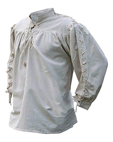 Ein Macht Kostüm Wikinger - Battle-Merchant Mittelalterhemd, geschnürt, naturfarben aus Baumwolle/Leinen Mittelalter, LARP, Wikinger (XXXL)