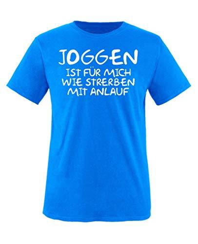 Sterben Kinder Hoodie (Comedy Shirts - Joggen ist Fuer Mich wie sterben mit Anlauf - Jungen T-Shirt - Royalblau/Weiss Gr. 98-104)