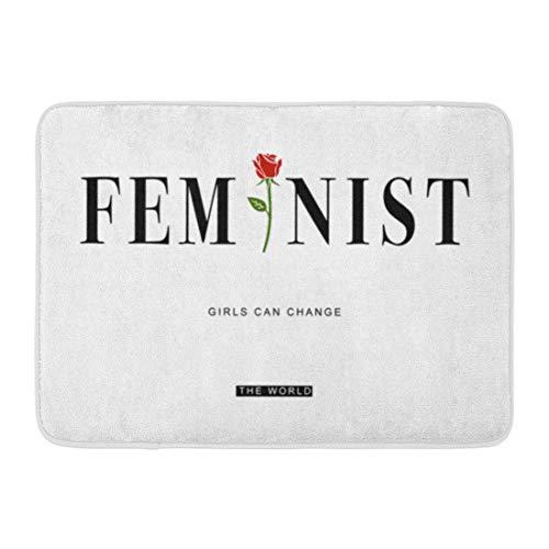 Zhengzho Antideslizantes Felpudos Rosa Feminista Lema Gráfico Feminismo Flor Girlpower Fase Redrose Alfombras duraderas 40x60 cm