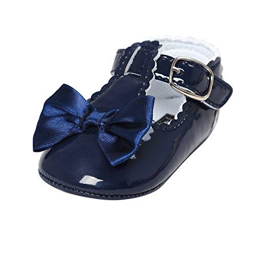 Baby Mädchen Leder T-Strap Schuhe Kleinkind Prinzessin Party Schuhe Navy blau 6-12 Monate (Blau Baby-schuh)